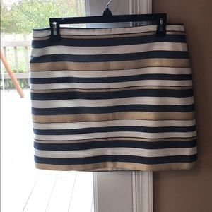 J.Crew gold and blue stripped skirt